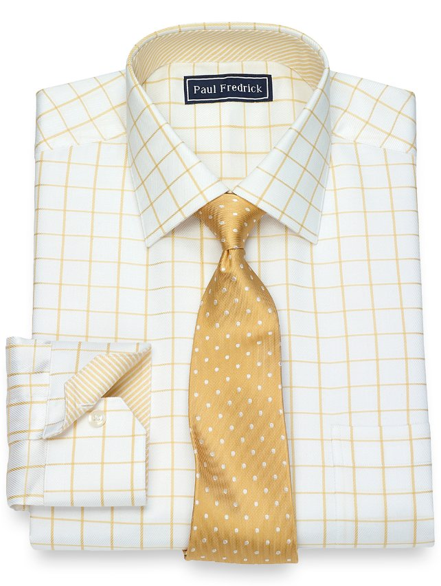 Cotton Satin Rope Grid Dress Shirt