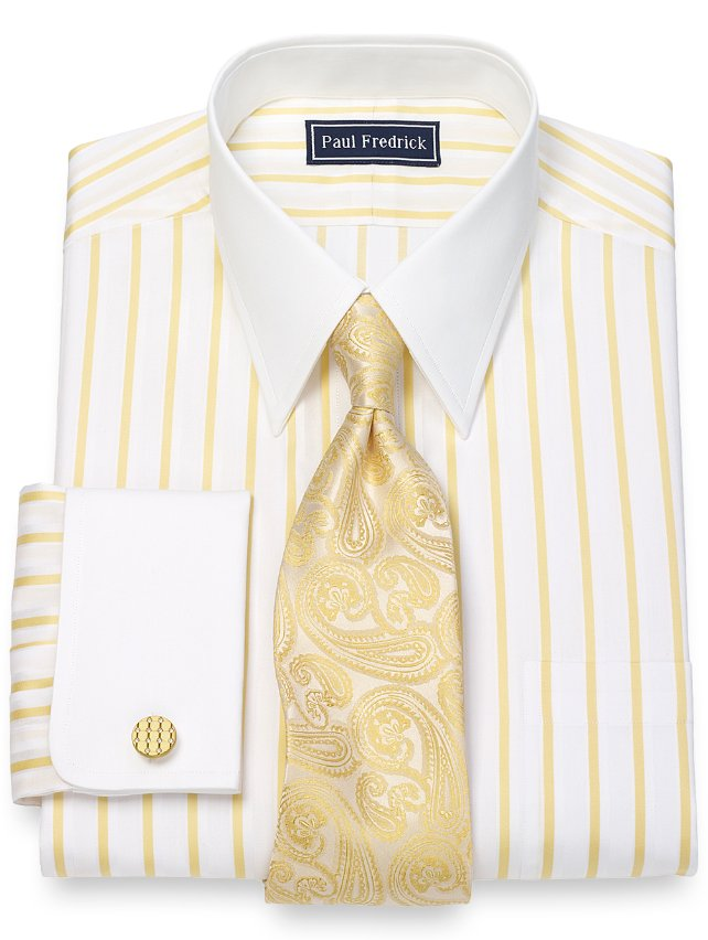 Cotton Satin Stripe Dress Shirt
