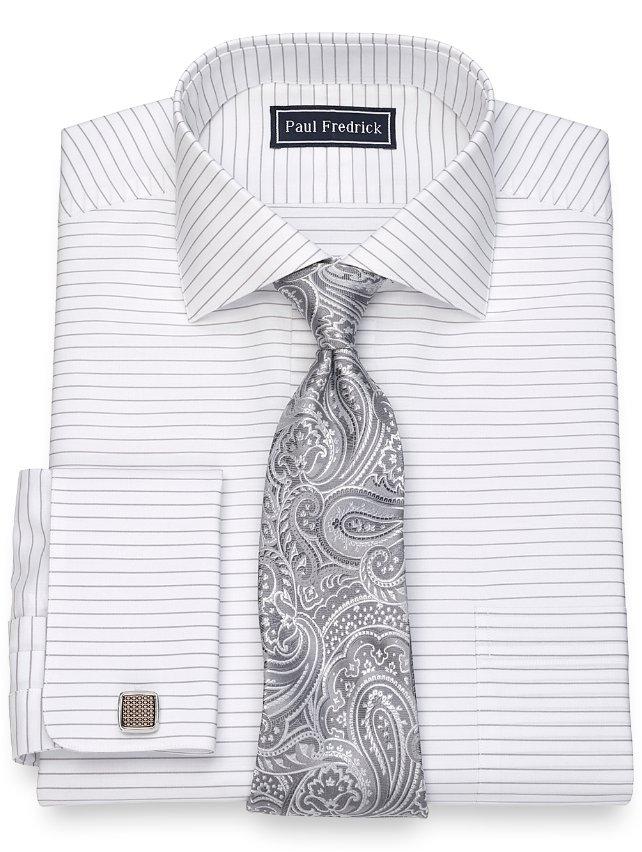Cotton Horizontal Stripe Dress Shirt