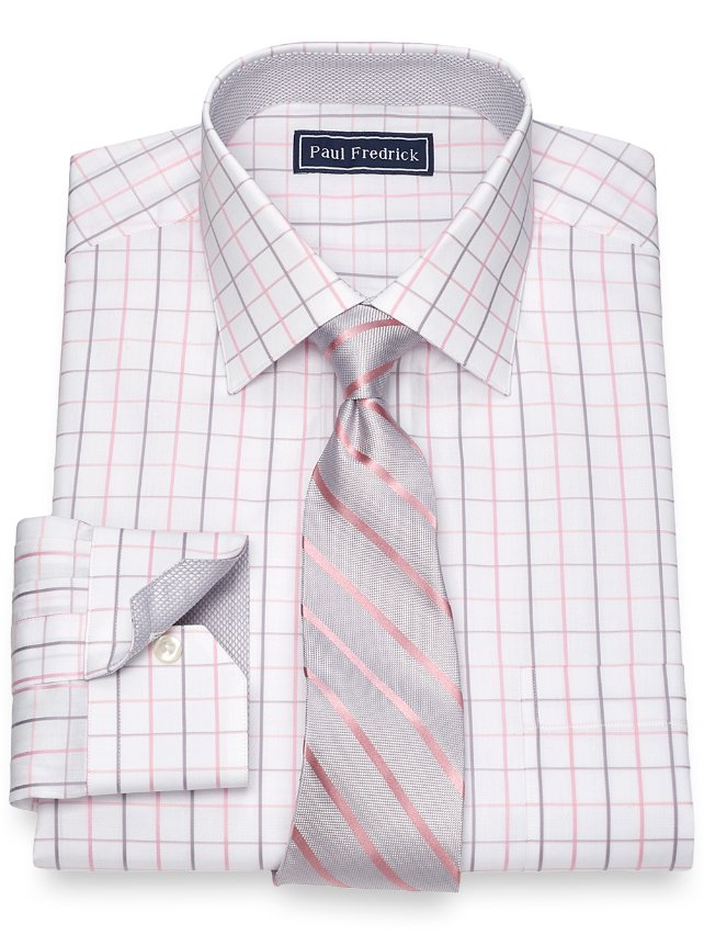 Cotton Satin Grid Dress Shirt