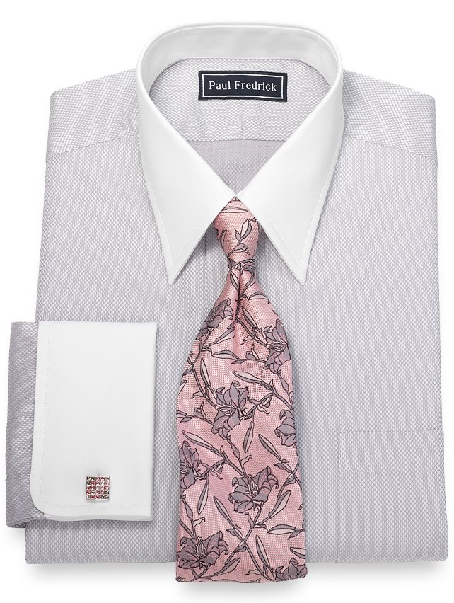 Slim Fit Cotton Diamond Pattern Dress Shirt