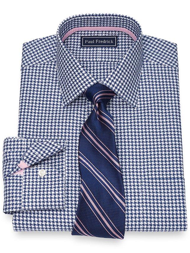 Cotton Houndstooth Dress Shirt