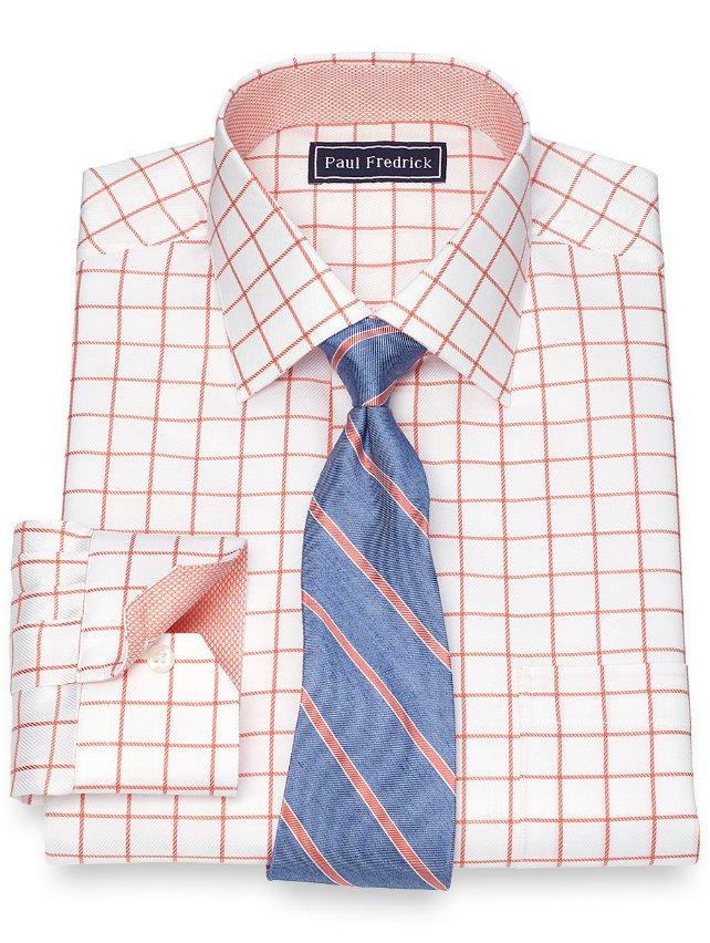 Cotton Satin Grid Dress Shirt