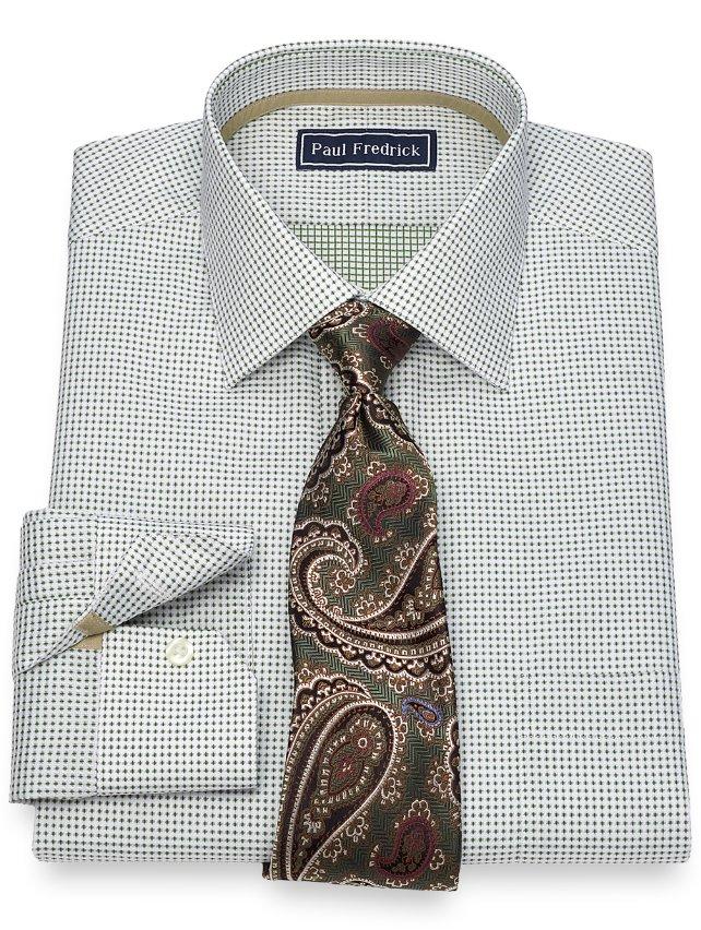 Slim Fit Cotton Textured Dot Dress Shirt