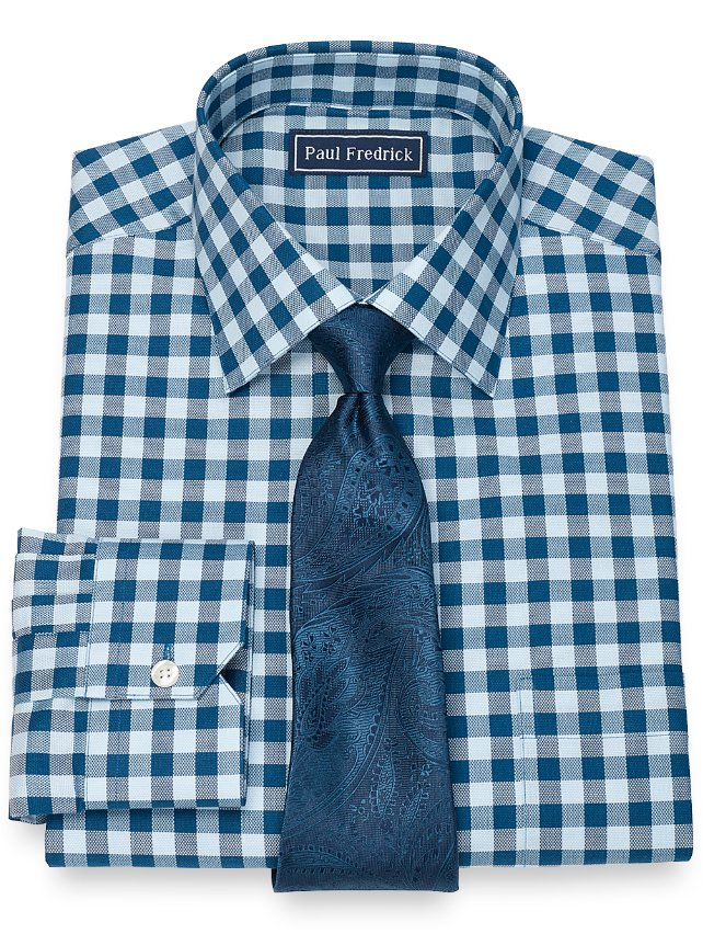 Slim Fit Cotton Gingham Dress Shirt