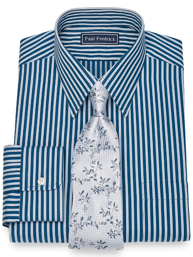 Cotton Herringbone Stripe Dress Shirt