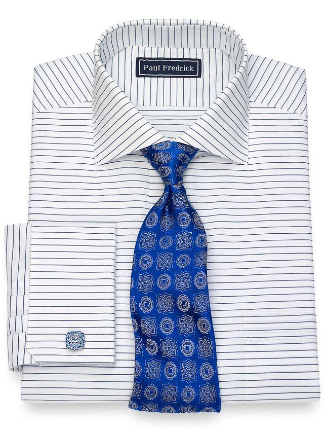 Slim Fit Cotton Horizontal Stripe Dress Shirt