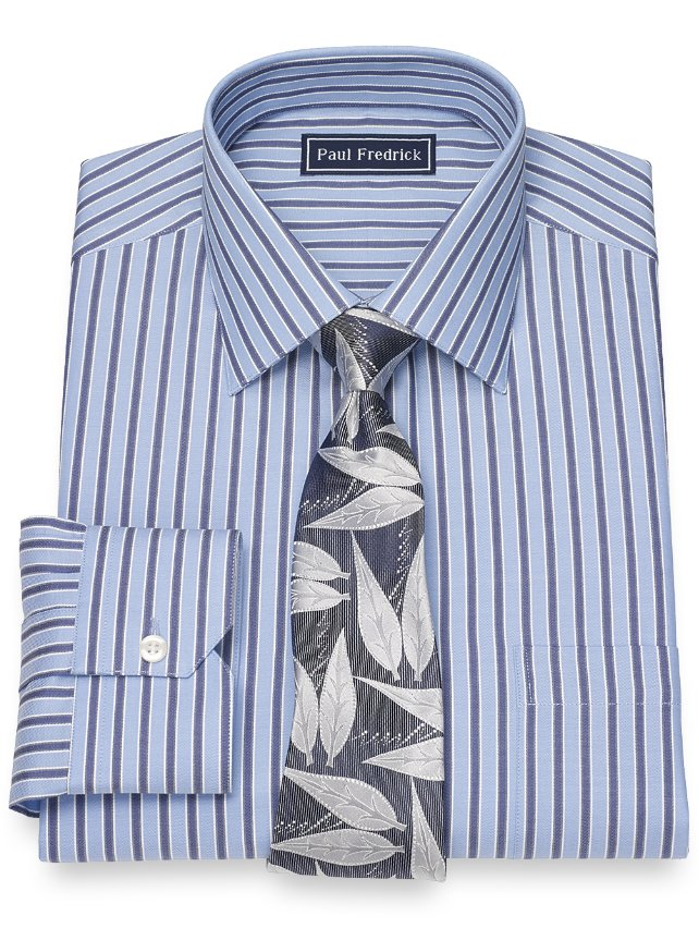 Cotton Twill Stripe Dress Shirt