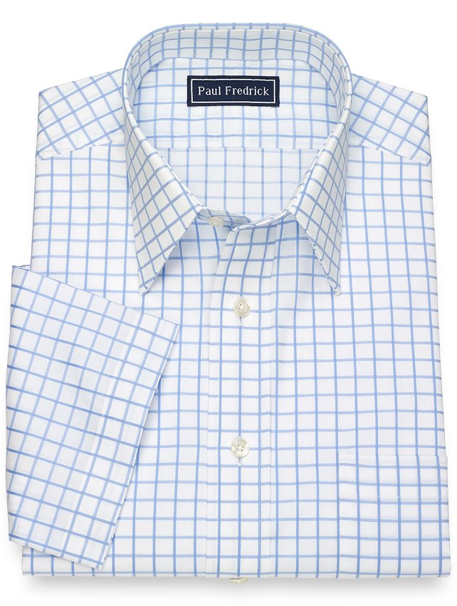 Cotton Grid Short Sleeve Dress Shirt