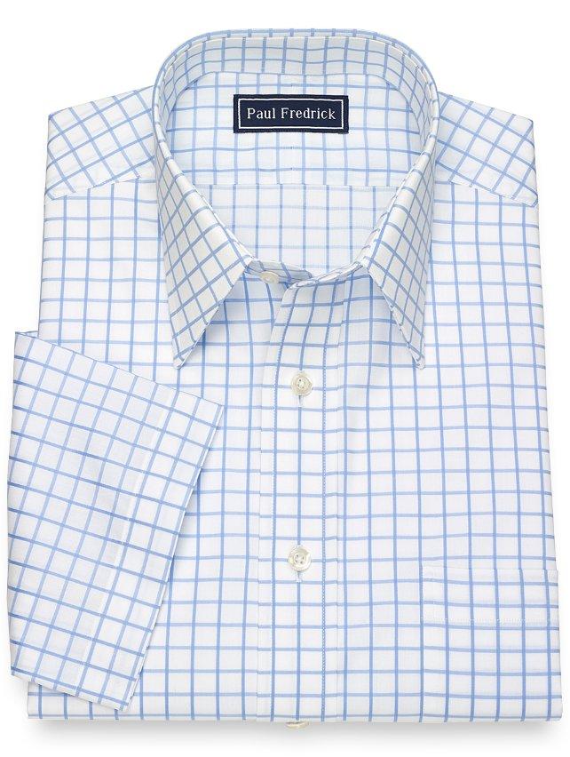 Slim Fit Cotton Grid Short Sleeve Dress Shirt