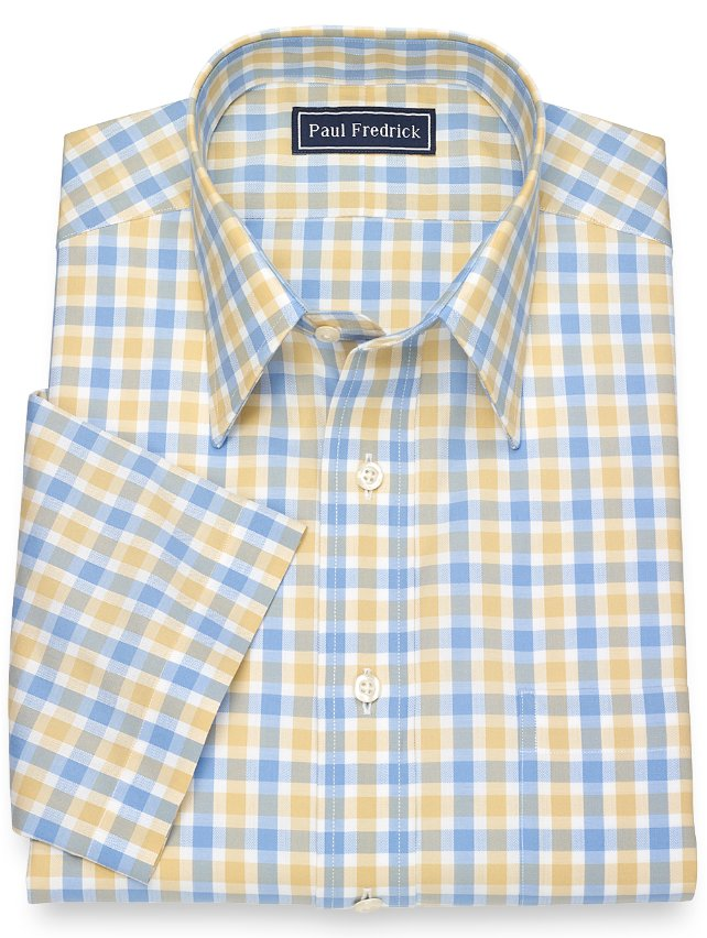 Slim Fit Cotton Gingham Short Sleeve Dress Shirt