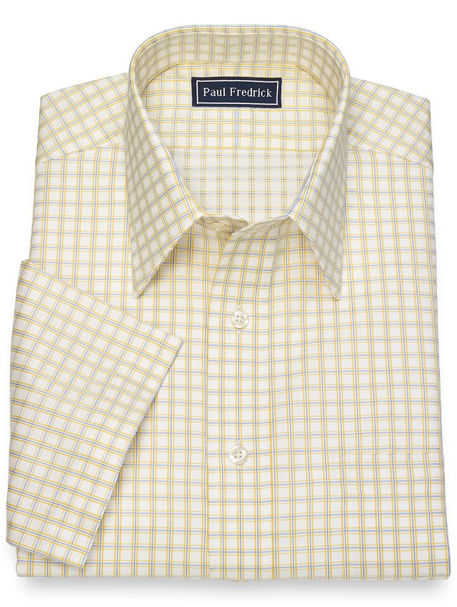 Slim Fit Cotton Windowpane Short Sleeve Dress Shirt
