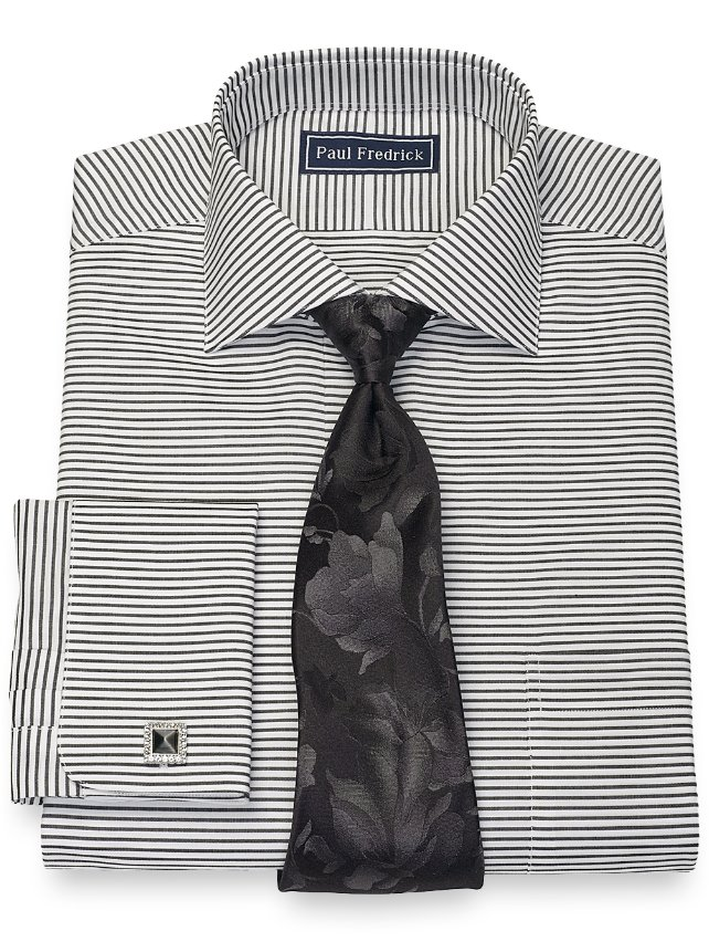 Slim Fit Cotton Horizontal Stripe Dress Shirt