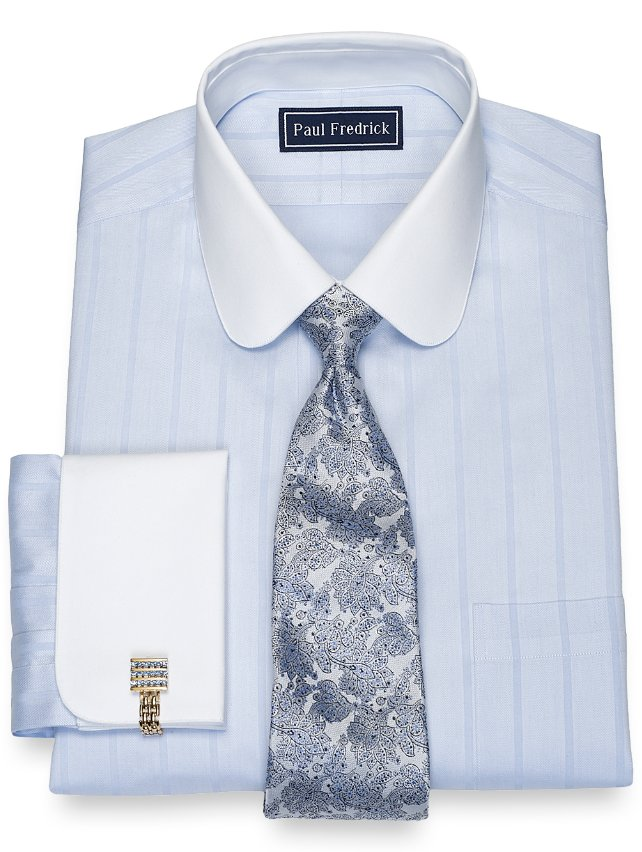 Slim Fit Cotton Wide Herringbone Stripe Dress Shirt