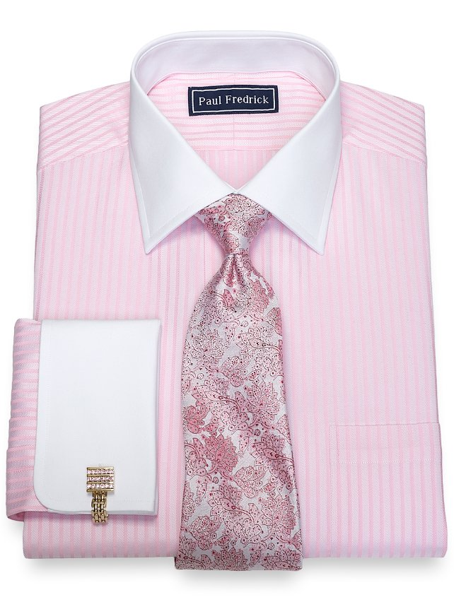 Slim Fit Cotton Twill Stripe Dress Shirt