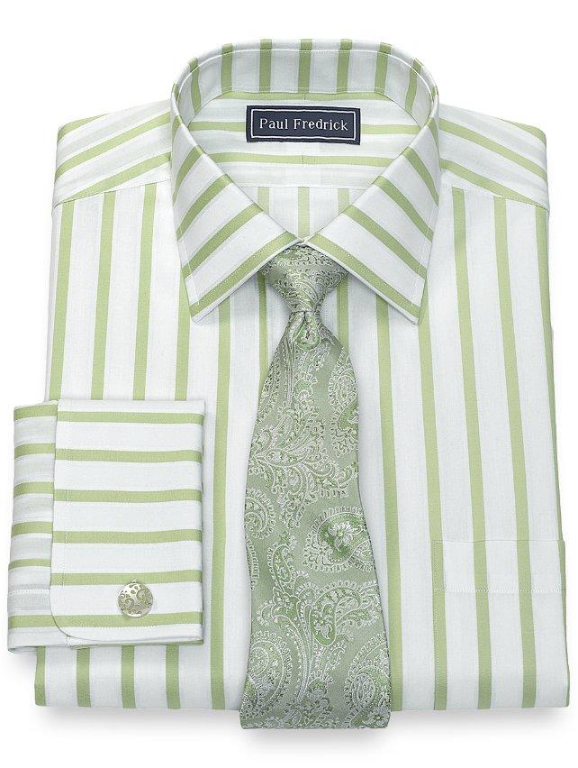 Cotton Framed Stripe Dress Shirt