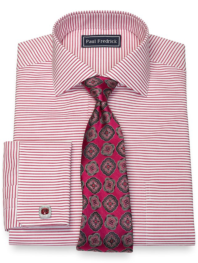 Cotton Horizontal Stripe Dress Shirt