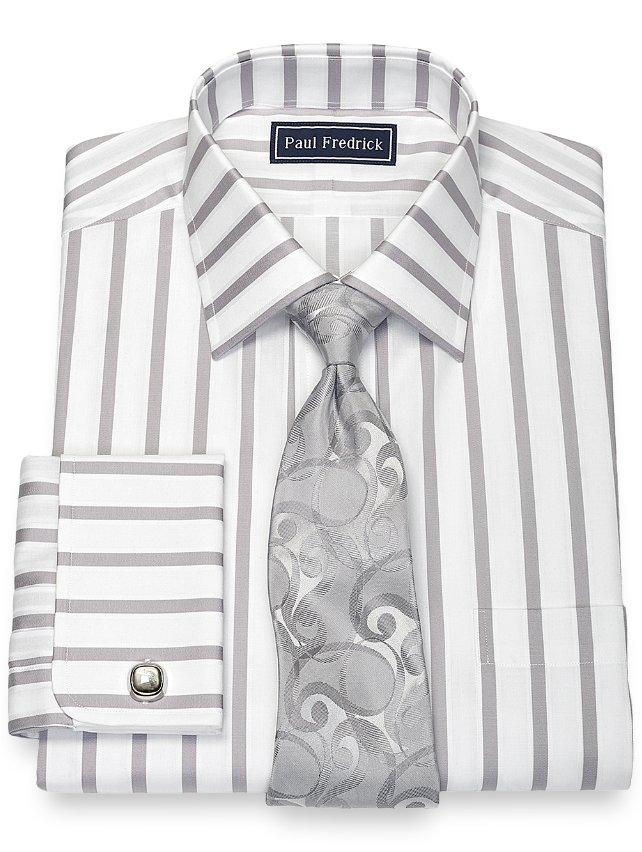 Cotton Wide Stripe Dress Shirt