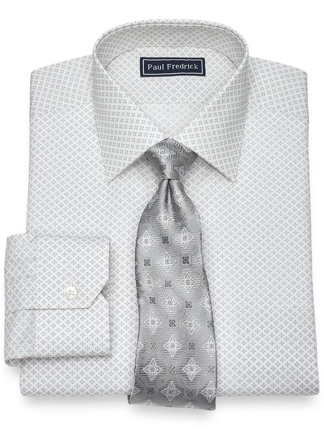 Slim Fit Cotton Diamond Print Pattern Dress Shirt