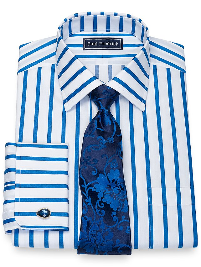 Cotton Framed Stripe Dress Shirt