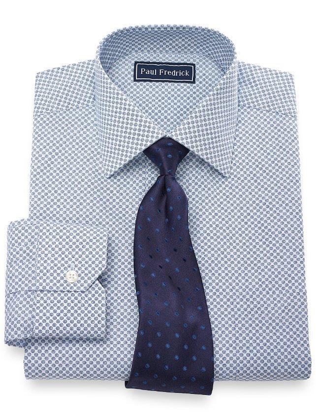 Slim Fit Cotton Circle Print Dress Shirt