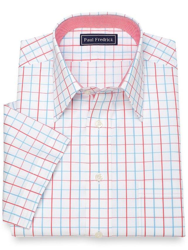 Slim Fit Cotton Satin Grid Short Sleeve