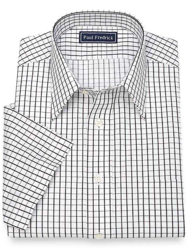 Slim Fit Cotton Grid Short Sleeve