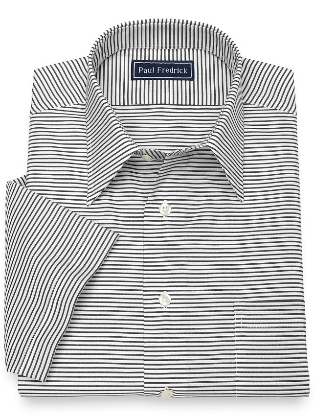Slim Fit Cotton Horizontal Stripe Short Sleeve