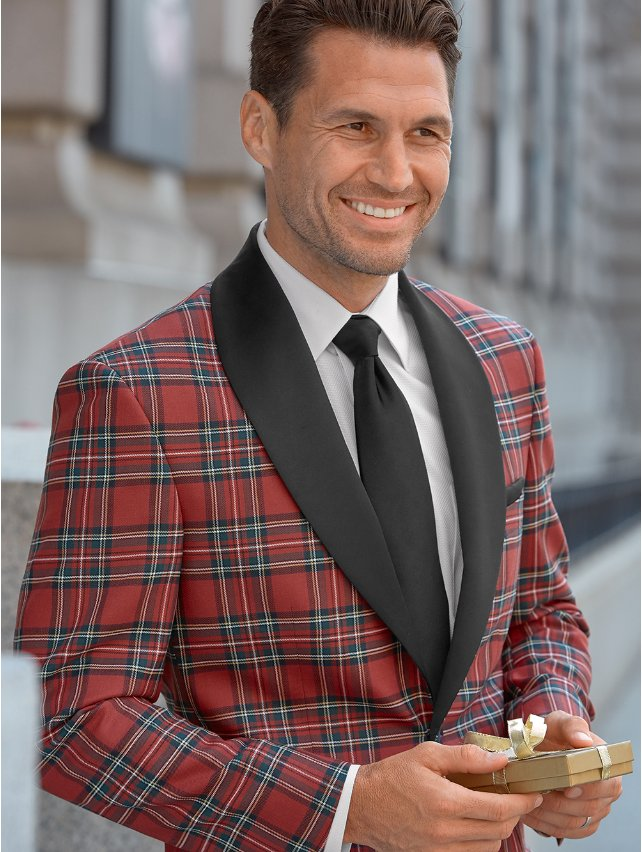 Red Tartan Pure Wool Sport Coat