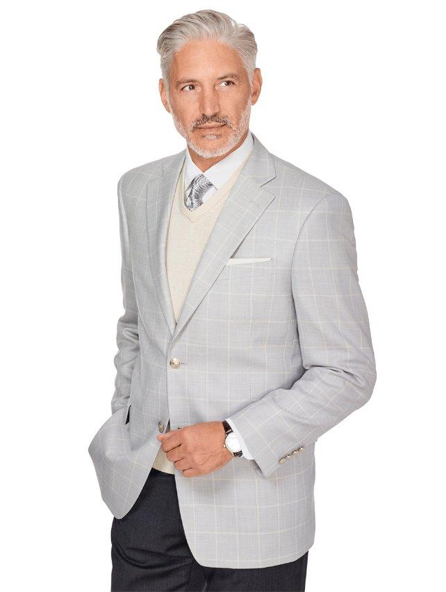 Pearl Grey Windowpane Wool & Silk Sport Coat