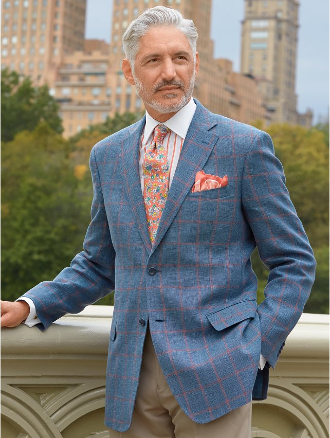 Blue Windowpane Linen Sport Coat