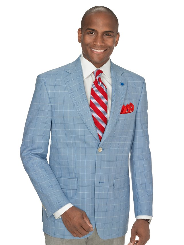 Blue Windowpane Wool Sport Coat