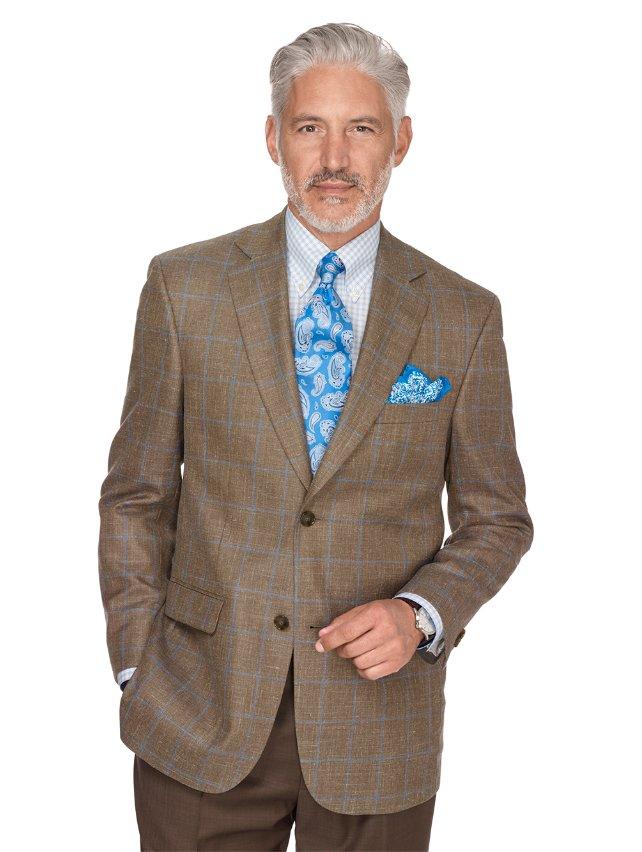 Taupe Windowpane Wool, Linen & Silk Sport Coat