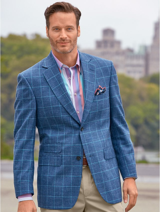 Denim Blue Windowpane Wool, Linen & Silk Sport Coat