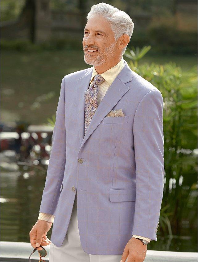 Lavender Windowpane Wool & Silk Sport Coat