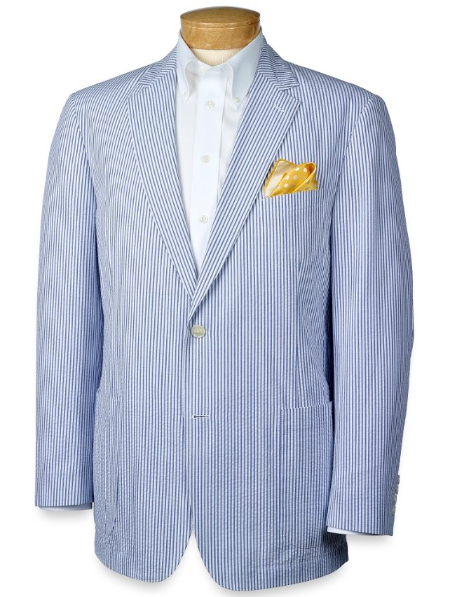 Striped Seersucker Two-Button Sportcoat