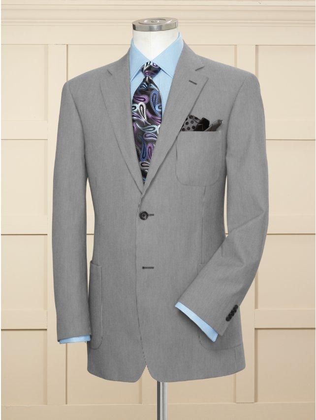 100% Cotton Fine Stripe Pincord Two Button Notch Lapel Sport Coat