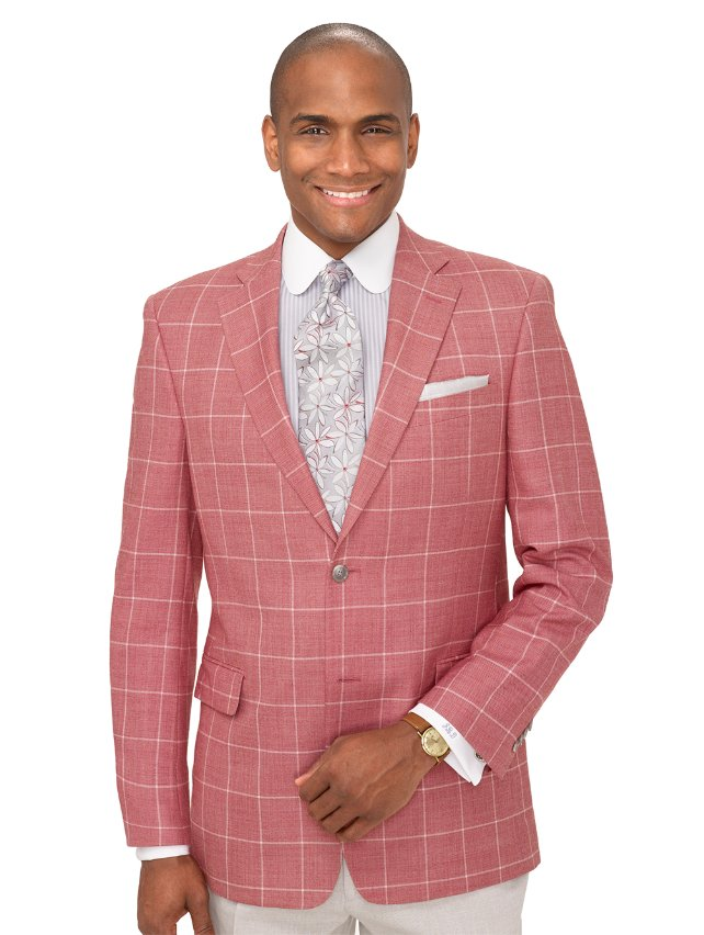 Wool and Silk Windowpane Two Button Notch Lapel Sport Coat