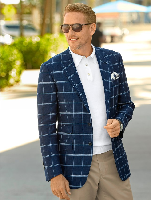 Italian Linen Windowpane Two Button Notch Lapel Sport Coat