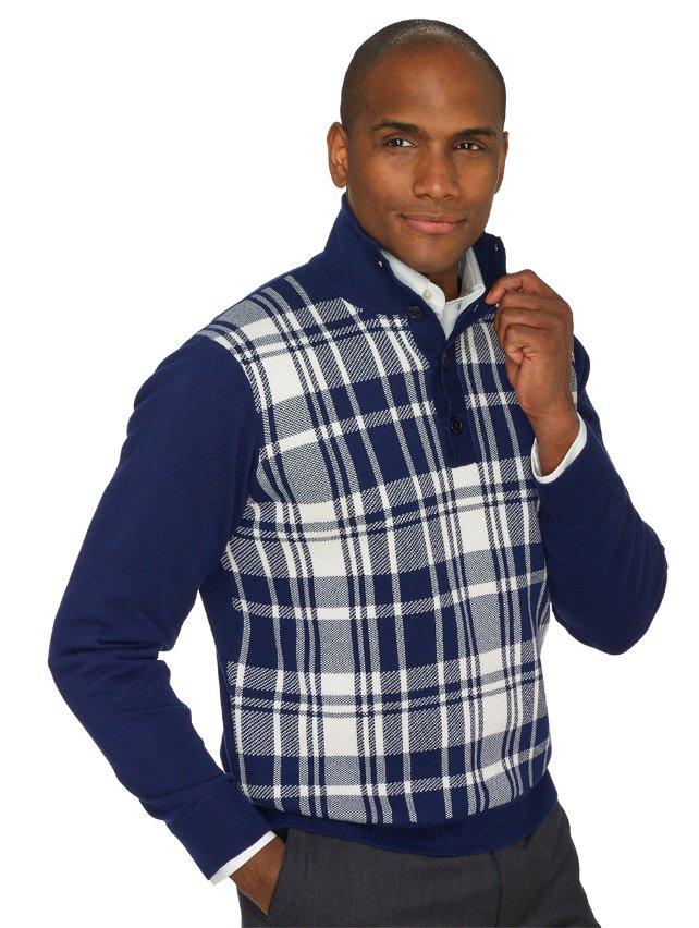 100% Cotton Plaid Button Mock Neck Sweater