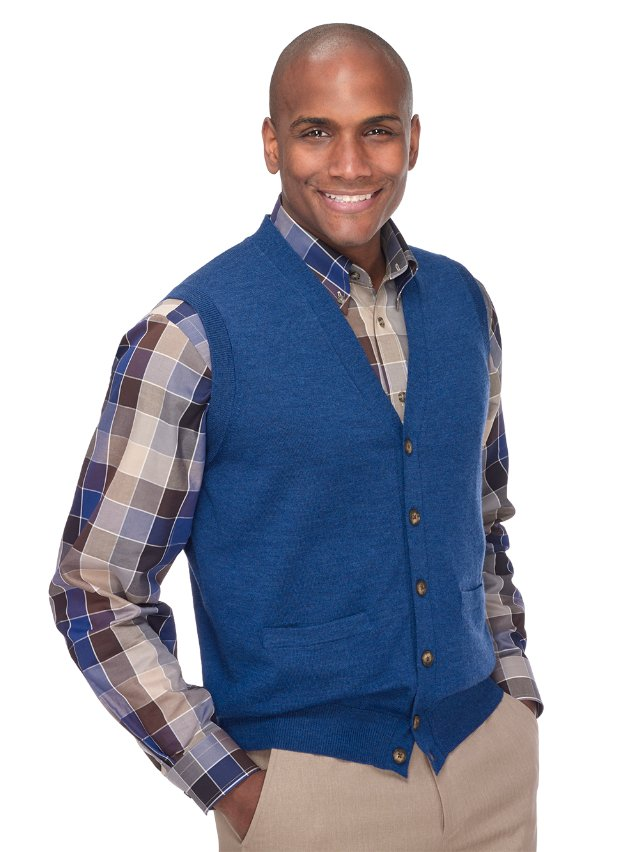 Italian Extra Fine Merino Wool Button Front Cardigan Sweater Vest