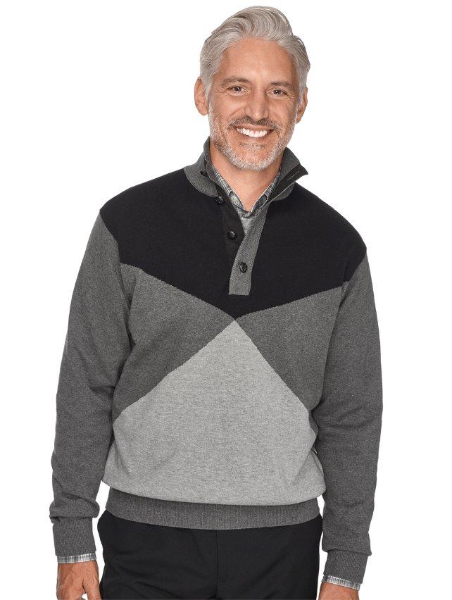 100% Cotton Colorblock Button Neck Sweater