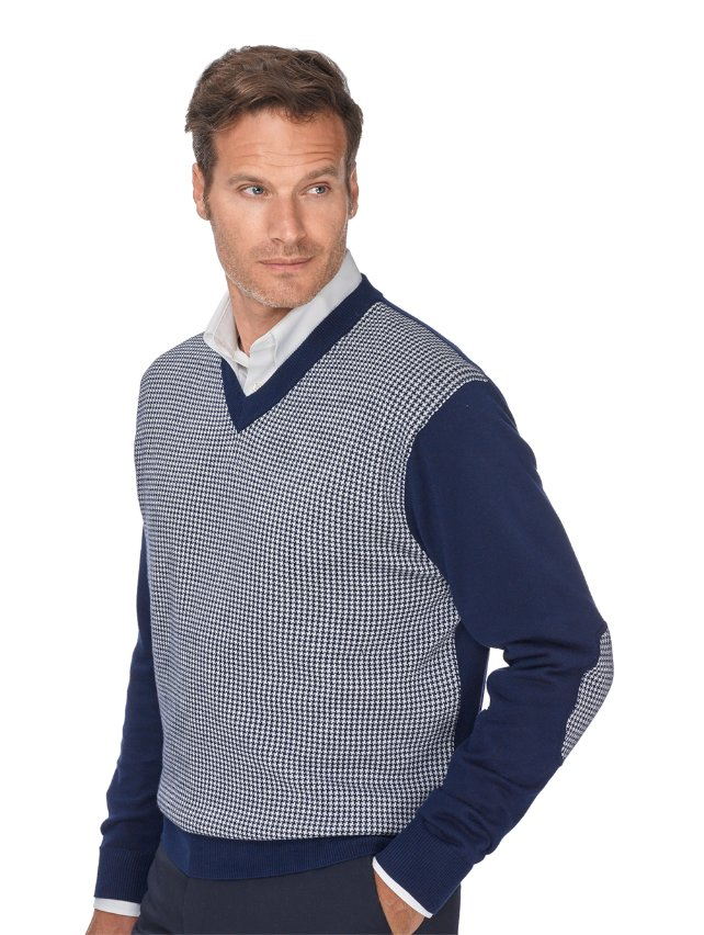 100% Cotton Houndstooth V-Neck Sweater