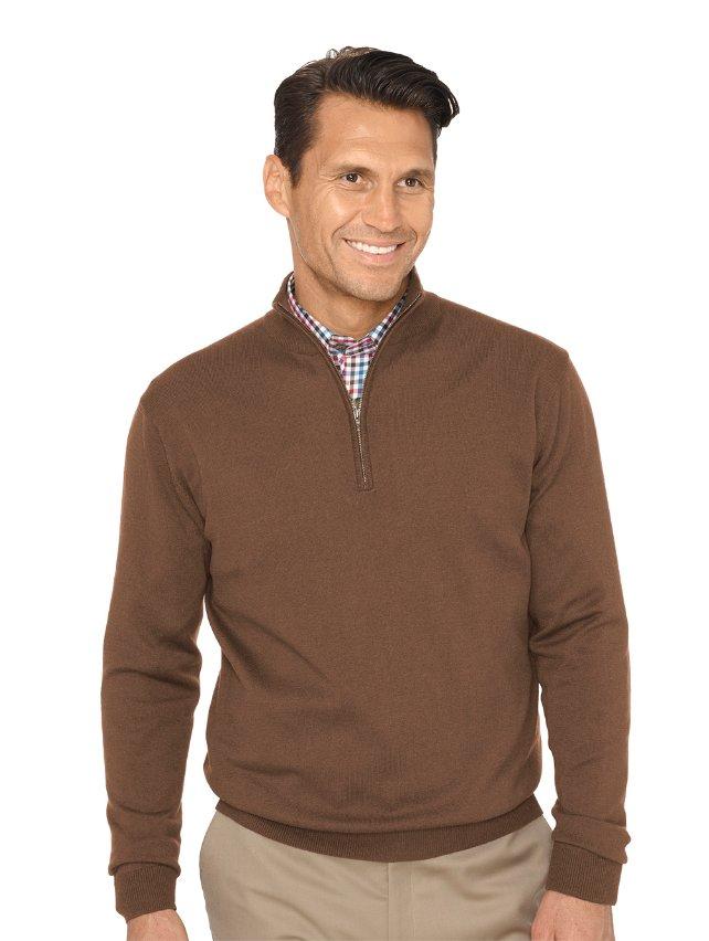 Silk, Cotton & Cashmere Zip Neck Sweater