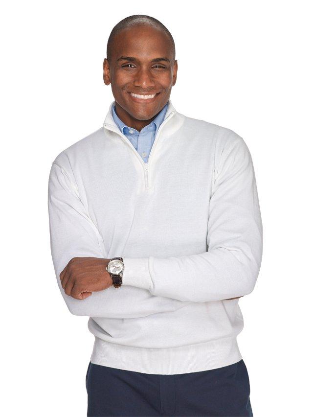 Pima Cotton Solid Zip Neck Pullover