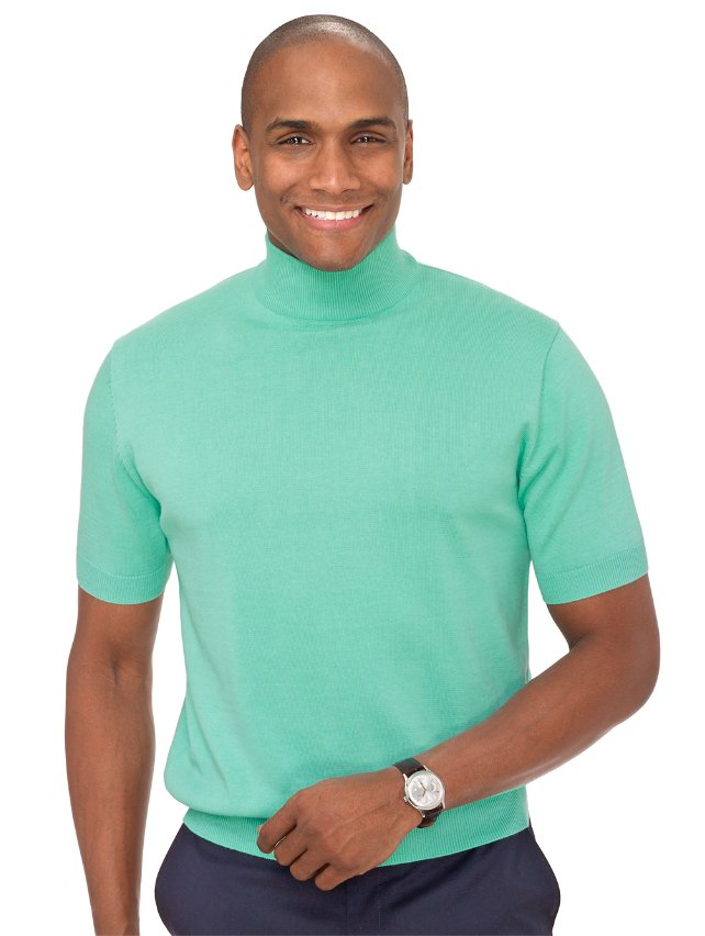 Pima Cotton Solid Mock Neck Pullover