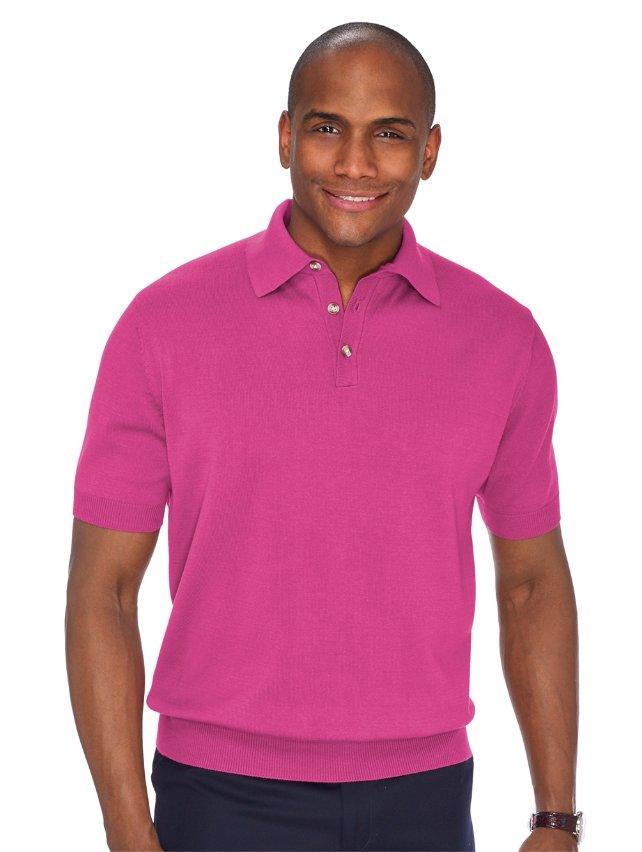 Pima Cotton Solid Polo Collar Pullover