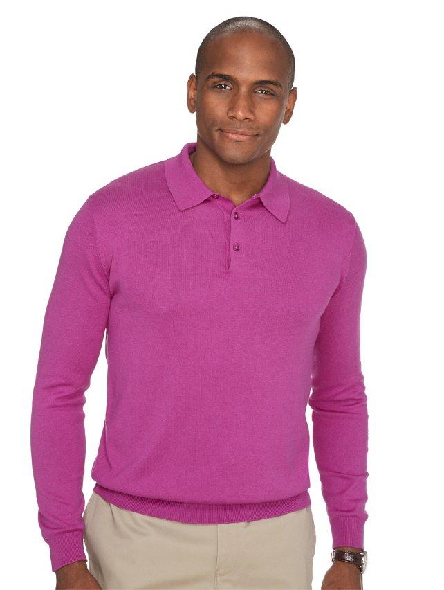 Silk, Cotton, & Cashmere Solid Polo Collar Pullover