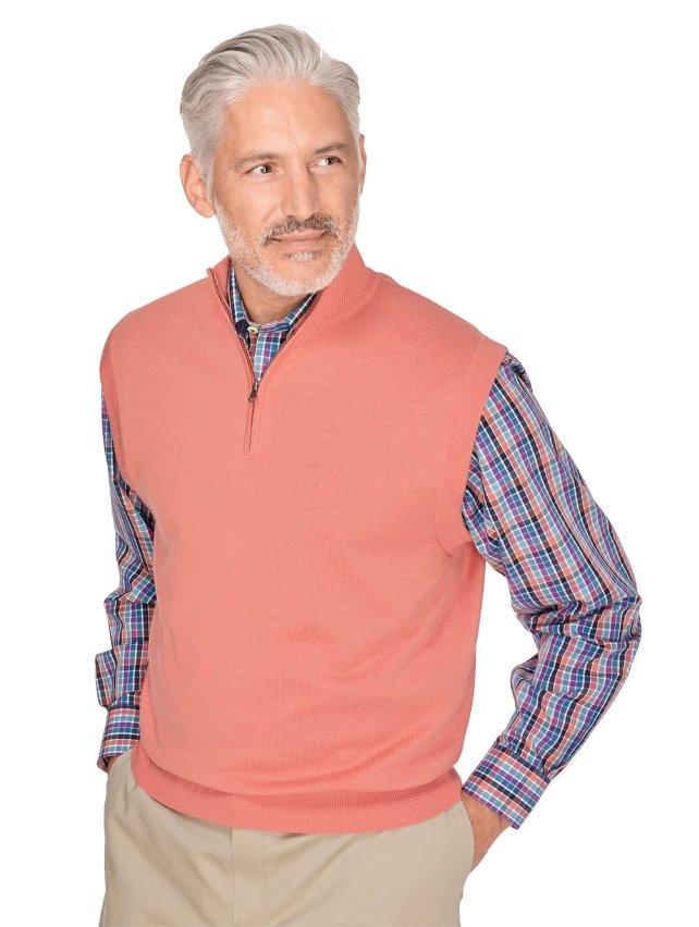 Silk, Cotton, & Cashmere Solid Zip Neck Pullover Vest