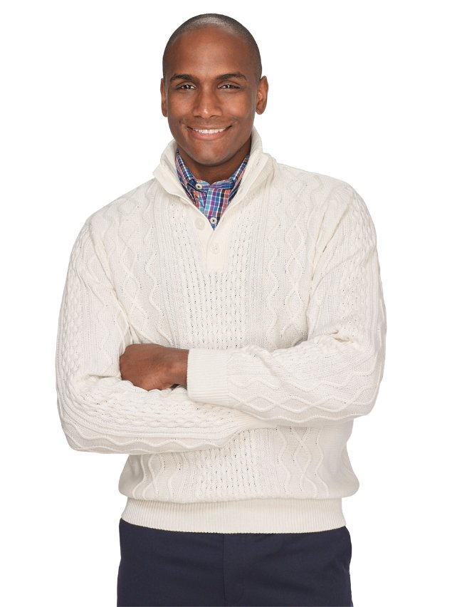 Ivory Cotton Cable Button Neck Pullover